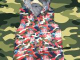 2015新款女式中长款棉背心女秋冬韩版时尚迷彩连帽牛仔马甲批发