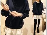 2014秋冬新款韩国代购针织拼接雪纺荷叶边圆领显瘦长袖连衣裙