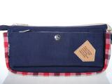 帆布格子图案学生笔袋/学生文具袋