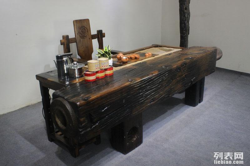 襄樊市老船木茶桌椅子仿古茶台实木沙发茶几餐桌办公桌家具博古架
