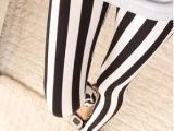 2014韩版时尚黑白相间竖条纹牛奶丝九分裤打底裤 女批发 弹力