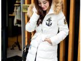 2014冬季新款韩版貂子大毛领羽绒服女中长款修身加厚批发一件代发