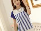 夏新款韩版休闲圆领条纹女装  雪纺拼接套头大码短袖T恤天猫**