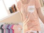 2015年春夏季新款短袖t恤女条纹小衫韩版修身上衣阿里批发厂家
