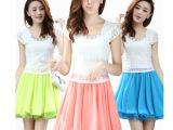 2014夏季新款韩版圆领钉珠勾花连衣裙雪纺拼接短袖连衣裙