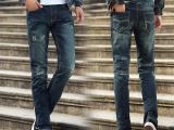 批发男装牛仔裤子 韩版欧美修身直筒牛仔长裤 秋冬破洞猫爪裤男士