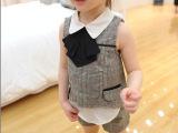 2014 童装欧货小格子暗纹假两件背心款套装小资同款 女童背心套