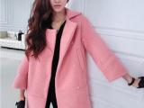 2015秋冬新款羊毛女式外套宽松廓形东大门韩版中长款羊毛呢大衣女