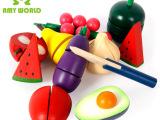 儿童益智过家家厨房玩具 仿真蔬菜水果切切乐 铁篮水果 木制玩具