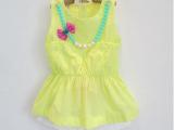 2014夏季新款 韩版女童项链裙衫+短裤套装 纯棉套装带项链加工