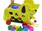 彩色小狗拖拉车 敲球台 多功能打击台 智力盒 儿童益智木制玩具