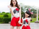 亲子装2015夏季新款韩版卡通印花蝴蝶结针织两件套套装 好质量