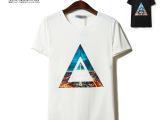 2014夏 个性圆领三角字母印花男士短袖体恤韩版修身短T恤诚招代