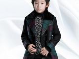 宝贝帝童男童呢大衣冬韩版羊毛拼色格子男儿童双排扣毛呢子外套潮