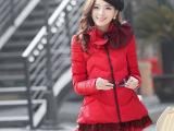 2014冬装新款羽绒棉服时尚中长款荷叶领边加厚A字款棉衣棉袄外套