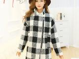 2014新款时尚韩版冬装毛呢大衣 小立领拉链女装格纹羊绒外套H3