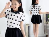 2015新款女童套装夏季童装儿童夏装圆点雪纺短袖T恤裙裤套装服装