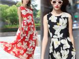 2015夏季女装新款波西米亚长裙沙滩裙显瘦大码无袖印花雪纺连衣裙