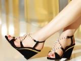2014韩版新款真皮高跟女鞋坡跟凉鞋 女 串珠黑色磨砂羊皮鱼嘴鞋