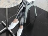 实拍 春秋季新款韩版女装孕妇裤补丁条纹打底裤孕妇装批发妈妈装
