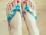 2014夏天韩国原单唯美海边玫瑰小碎花夹角厚底松糕底坡跟女拖鞋