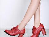 2014欧美爆款真皮女鞋厂家直销牛皮系带女单鞋新款粗跟高跟鞋