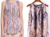 欧美风2014夏季新款女装雪纺衫 圆领坎肩薄款蛇纹印花衬衫