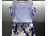 女装欧洲站专柜正品2015夏季新款修身显瘦休闲套装女短裤两件套潮