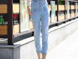 背带牛仔九分裤女夏薄款大码女装韩版宽松连体裤高腰女牛仔裤新款