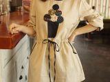 秋季新品 甜美森女胸前刺绣贴布图案松紧抽绳圆领长袖宽松连衣裙