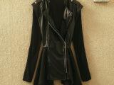 新款女装外套 pu皮衣女品牌风衣 时尚韩版纯色拼接秋季大衣批发