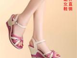 一件代发2014新款红蜻蜓女鞋夏季真皮女凉鞋罗马坡跟露趾高跟