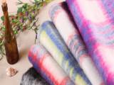 爆款欧美风大衣毛呢面料批发  现货色织秋冬装长毛大格子毛呢面料