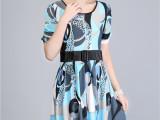 中年女装夏装短袖修身连衣裙 时尚女士品牌收腰女裙子 兰裙951