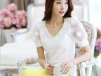 韩版女装V领短袖上衣蕾丝雪纺衫钉珠修身显瘦打底衫