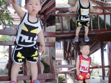 2015夏季男小童韩版童套装 纯棉背心短裤男童装童套装 一件代发