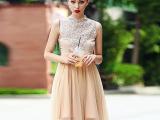 代理加盟2015夏季女装新款欧美名嫒气质水蓉拼接网纱修身连衣裙