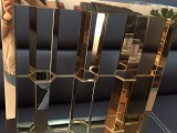 错位焊接玫瑰金镜面艺术风格不锈钢酒店屏风效果图