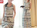 2014夏季新款韩版女装民族风修身背心长裙休闲无袖宽松连衣裙子