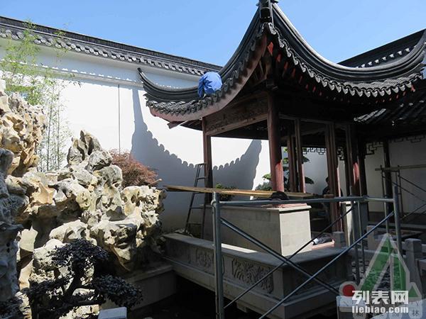 地面铺装硬质景观假山跌水景石堆砌花园规划扬州