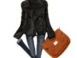 春秋新款泡泡袖pu皮衣女短款修身韩版小外套皮尤女士机车夹克201