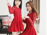 亲子装2015春夏韩版新款蕾丝假两件斗篷弹力针织连衣裙母女装童装