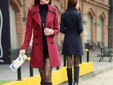 精品女装2014秋冬新款韩版修身时尚洋气中长款羊绒毛呢大衣女外套