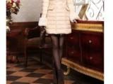 2013新款羽绒服厂家批发 时尚韩版中长款修身气质女兔毛领羽绒服