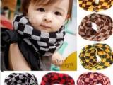 方格围脖 儿童围脖 套头围巾宝宝围脖冬季保暖批发