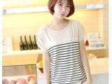 2013新款夏装 日韩女装 宽松棉质T恤拼接条纹缀蕾丝长款上衣