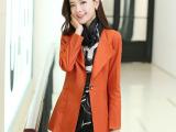 2015韩版新款职业修身百搭气质一粒扣时尚女装风衣外套8558