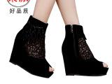 成都女鞋厂家批发 新款单靴子女靴真皮 坡跟短靴春夏季网靴 正品