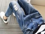 烟台外贸服装批发夏季新款女装批发厂家外贸10元韩版渔网牛仔裤
