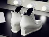 欧洲站马丁靴16秋冬真皮女靴子平底内增高